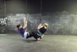Dance Interrogations duet harness rehearsal 1